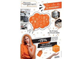 Placard et Rangement : -15% sur votre aménagement du 19 septembre au 19 octobre 2019