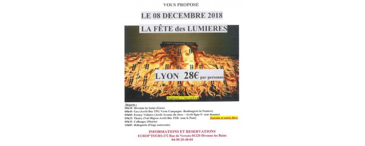 EUROP'TOURS : Fête des Lumières à Lyon le 8 décembre 2018